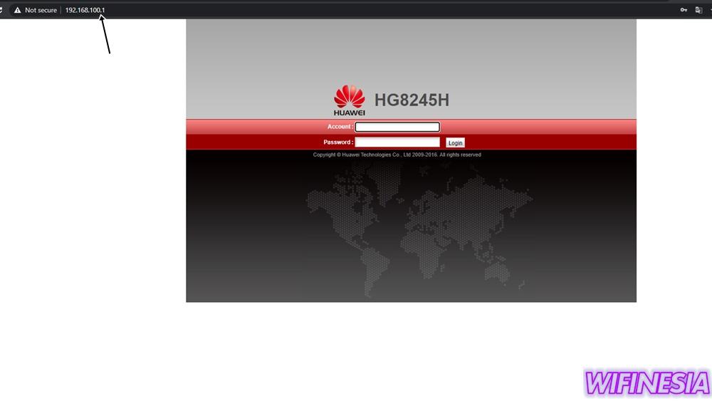 Gunakan Alamat IP 192.168.100.1 Untuk Masuk Ke Halaman Konfigurasi Huawei